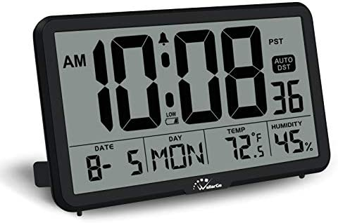 WallarGe Digital Wall Clock Autoset Desk Alarm Clock with Temperature Humidity and Date Battery product image