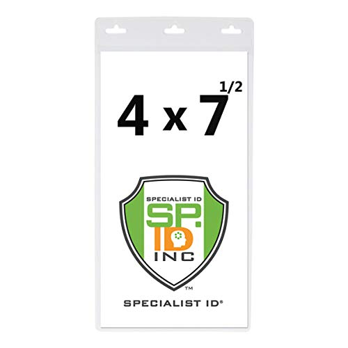 Vertical Oversize 4X7 Inch - Vinyl Large Credential or Ticket Holder for Pit Passes and Special Events (4 x 7 1/2 Insert) by Specialist ID