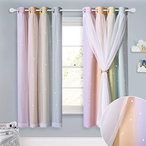 NICETOWN - Cortinas para niños, decoración de dormitorio para adolescentes, estrellas, diseño de rayas arcoiris, cortinas opacas con...