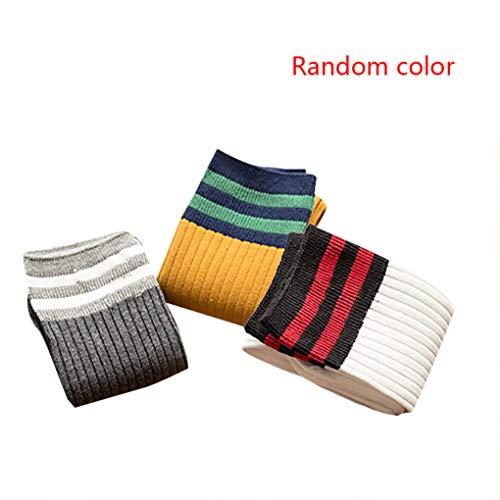 Centens Wuqiong 3 Paar zufällige Farbe Baby Sport Lange Socken Baby-Strümpfe Kinder Lange Kinder Striped Patchwork-Fußball-Fußball-Baseball-Kniestrümpfe