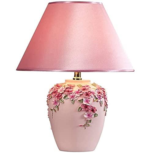 Moderna simple lámpara de mesa rosa vintage de estilo europeo de estilo de campo lámparas noche paraguas paraguas pastoral resina estudio sala estar hotel villa decorativo escritorio lámpara