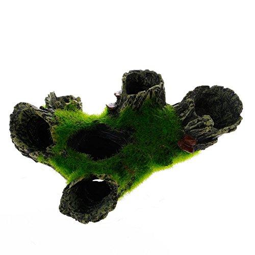 Hemore Aquarium-Dekoration Felshöhle mit grünem Gras für Garnelen, Verstecken von Aquarien