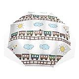 LASINSU Paraguas Resistente a la Intemperie,protección UV,Estilo Dibujos Animados Tren Y Pista Día Soleado Nubes Pintadas A Mano