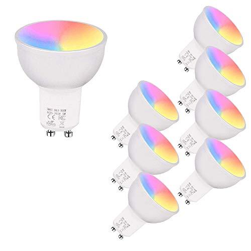 Intelligente WiFi-LED-Lampe, 5-W-GU10-LED-Lampen Dimmbares RGB + kühles Licht + warmes Licht Arbeiten Sie mit Alexa Echo, Google Home, kein Hub erforderlich, Sprach- / APP-Steuerung