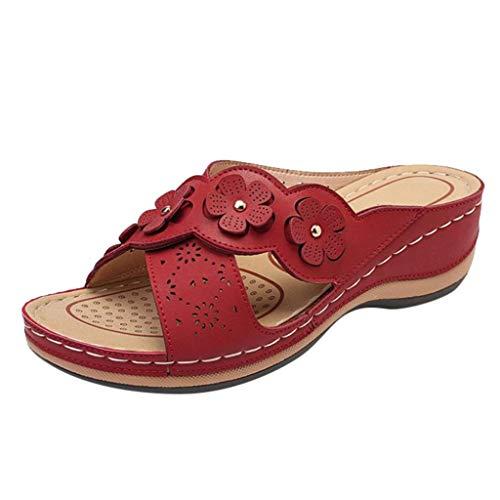 Geilisungren Damen Sandalen Keilabsatz Pantoletten Flach Geschlossene Slingback Wedges Sandaletten Halbschuhe Vintage Frauen Schuhe