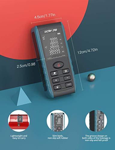 DETLEV PRO Laser Measure, 229ft M/In/Ft Digital Distance Meter, Laser Measurement Tool with Electronic Angle Sensor, Backlit LCD, Pythagorean Mode, Measuring Distance, Area and Volum