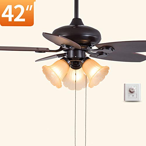 Plafond Ventilator Licht, Houten Fan Leaf Low Profile Plafond Ventilator Met Licht, Met Afstandsbediening Functie 42-In 3 Speed ​​Indoor Fan Brown,Remote control