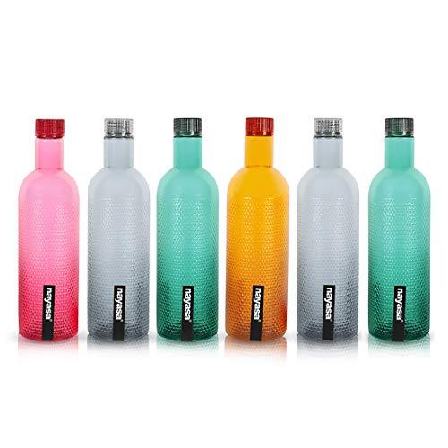 Nayasa Plastic Water Bottle, 1000ml, Set Of 6, Multicolour