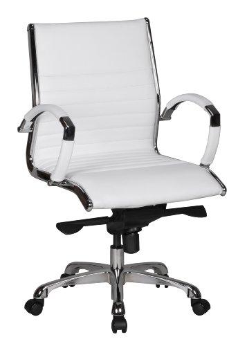 Amstyle Chaise de Bureau Salzburg - 2 Housses en Cuir véritable - X-XL - 120 kg - Hauteur réglable - Ergonomique - avec accoudoirs - Dossier Bas - Fonction Bascule - Blanc