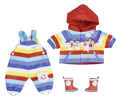 Zapf Creation 831618 BABY born Kindergarten Matschhose Set 36 cm - gestreiftes Puppenoutfit Set mit Jacke, Hose und Stiefeln