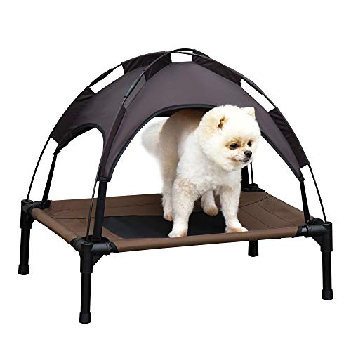 Pawhut Haustierbett mit Baldachin, Erhöhtes Hundebett, Hundeliege mit Dach, Atmungsaktiv, Taftstoff Kaffee 61 x 46 x 61 cm