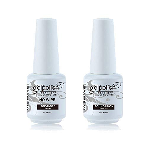Vishine 2 x 8ml Nail Art UV LED Lamp Gel Polish Gelpolish Base Top Coat Primer Foundation Long-lasting