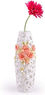 JSFQ Nordic Hollow Ceramic Vase Living Room Floor Vase Ornament Decoration vase (Size : A high 43.5CM)