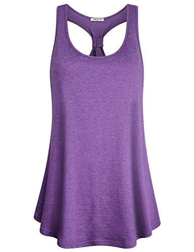 SeSe Code Flowy Tank Top, Women Scoop Neck Jersey Workout Shirts Classic Gym Outfits Triblend Yarn Flattering Racerback Leisure Outdoor Comfy Wear Elastic Summer Yoga Tunics Purple Large