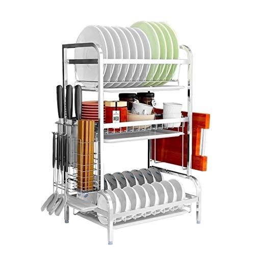 Xuping shop Organizador de utensilios de cocina – Bandeja de acero para hornear Multifuncional Estante de almacenamiento para secar platos, escurreplatos cromados, color negro, 3 niveles