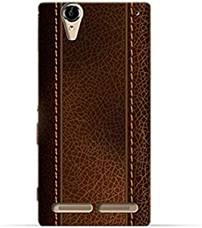 Sony Xperia T2 Ultra TPU Silicone Case with Brown Leather Pattern Design