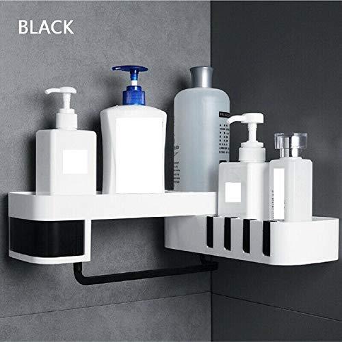 Nahtloses drehendes Stativ-nahtlos Badezimmer-Regal-Eckbad-Speicher-Halter, keine bohrenden Eckbefestigungen Lagerregalhalter für Wandmontage (1PCS, Black)