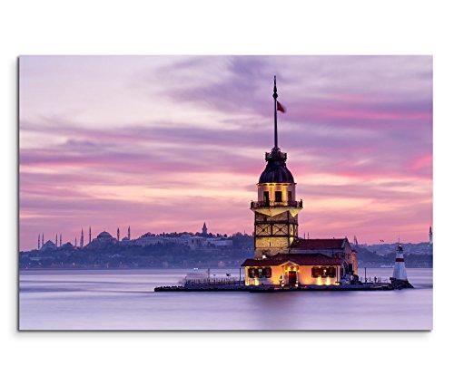 Paul Sinus Art 120x80cm Leinwandbild auf Keilrahmen Istanbul Bosporus Jungfrauenturm Wandbild auf Leinwand als Panorama