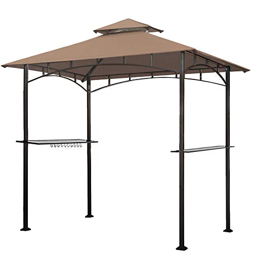 Eurmax 5x8 Grill Gazebo Shelter for Patio and Outdoor Backyard BBQ's, Double Tier Soft Top Canopy and Steel Frame with Bar Counters, Bonus LED Light X2 (Khaki)