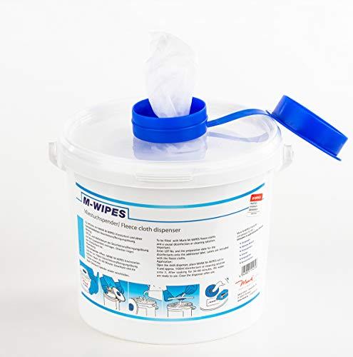 Reinigungstuch M-Wipes aus Spunlace | ca. 200 Abrisse | Weiß | Vliesrollen im Spendereimer | Wischtuch | Reinigung & Hygiene | 17x25 cm | 1 Rolle und 1 Eimer