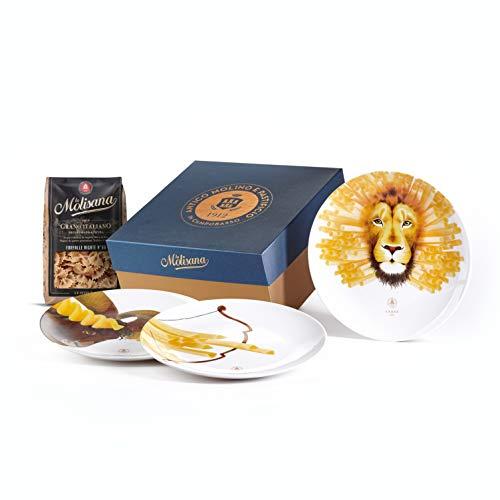 La Molisana, Gift Box Set 3 piatti a tema Segni di Fuoco, Piatti in ceramica - Edizione Limitata