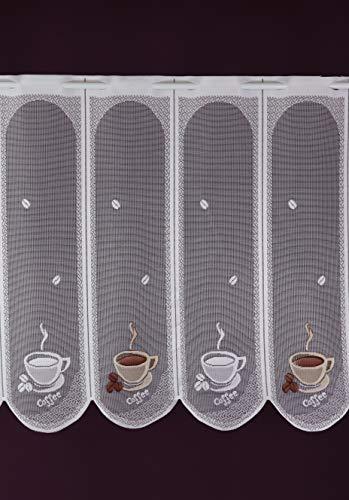 Albani Scheibengardine nach Maß Jacquard - Lamellenpanneau Cafemotiv Kaffee Espresso Bistrogardine Kurzstore Höhe 60 cm - Breite der Gardine durch Stückzahl in 15 cm Schritten wählbar weiß-braun