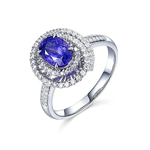 Amody Anillos de Boda de Oro 18 Kilates, Anillo de Mujer Compromiso Hueco Ovalada 4 Clavijas 1.58ct Morado Azul Zafiro con Diamante Tamaño 22
