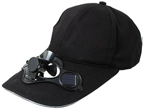 Y-BOA - Casquette Visière Avec Mini Ventilateur Solaire - Homme/ Femme - Chapeau Voyage Sport/Golf/ Baseball (Noir)