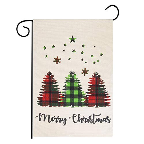Roberly Merry Christmas Garden Flag, Burlap Vertical Double-Sided Christmas Flag with Buffalo Check Plaid Tree, Home Yard Xmas Quote Winter Garden Flag for Outdoor Decoration (12.5' x 18')