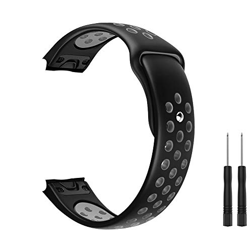 Dadanism GARMIN(ガーミン) Fenix 5 / 5 Plus / Fenix 6 バンド 交換用ベルト Huawei Watch GT/GT 2/ GT2e/Forerunner 935/Approach S60/Quatix 5にも適用 シリコーン製 スマートウォッチバンド 通気 耐久性 留め穴式 取替え工具2本付属 195mm-235mm 調整可能 腕時計バンド Black+Gray