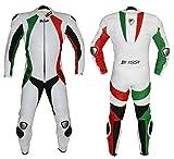 BI ESSE - Mono de moto de piel de vacuno auténtica ideal para uso profesional en pista. Modelo tricolor (verde/blanco/rojo/4XL)