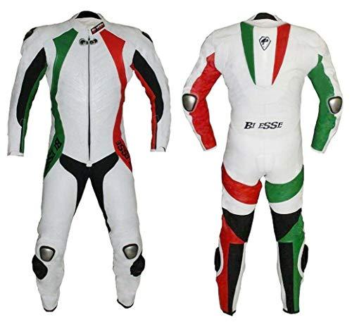 BI ESSE - Tuta da MOTO intera in vera pelle bovina, ideale per uso professionale in pista. Modello Tricolore (Verde/Bianco/Rosso, M)