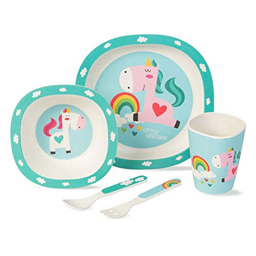 BIOZOYG Bamboo Children crockery set 5 pieces I Table Service for children Unicorn with cutlery cereal Bowl drinking cup and children's Plates I Recyclable Natural Material BPA