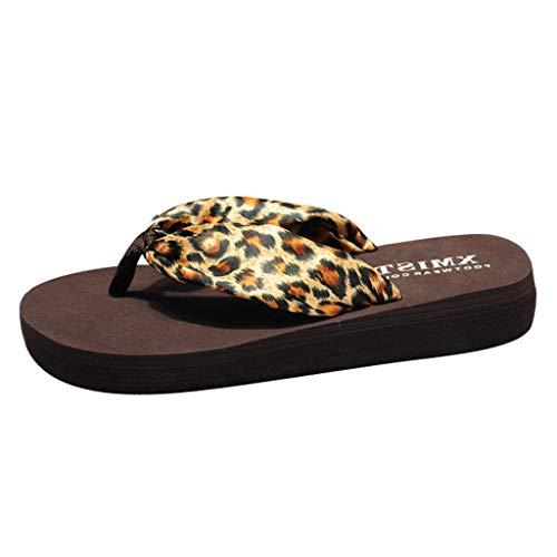 Yvelands Fashion Leopard Flat para Mujer Chanclas Playa Antideslizante Bosmia Zapatillas con Zapatillas(Marrón,36)