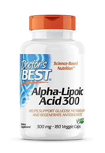 Doctor's Best, Alpha-Lipoic Acid (Alpha Liponsäure), 300 mg, 180 vegane Kapseln, Hochdosiert, Laborgeprüft, Ohne Gentechnik, Glutenfrei, Sojafrei