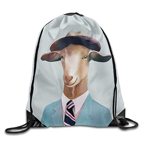 Etryrt Mochilas/Bolsas de Gimnasia,Bolsas de Cuerdas, Goat Drawstring Backpack Rucksack Shoulder Bags Training Gym Sack For Man and Women