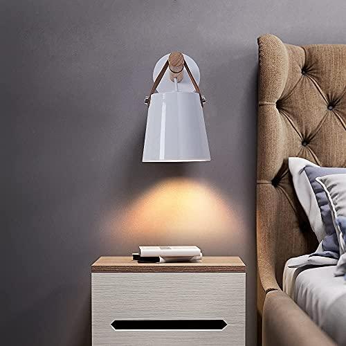 Goeco Aplique pared madera, Lámpara de pared decorativa, Apliques de pared nórdica E27, para Mesilla de noche Pasillo Comedor (blanco)