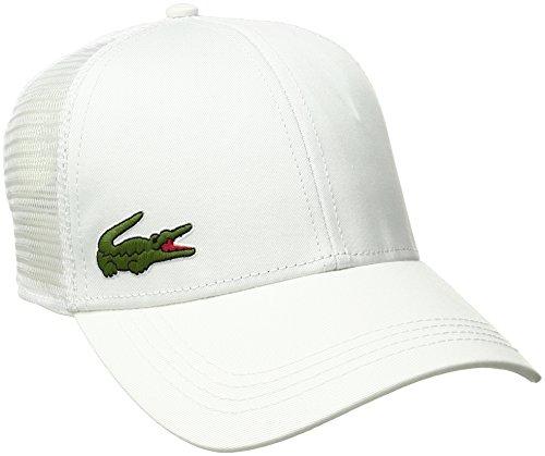 Lacoste Mens Sport Gabardine And Mesh Tennis Cap Baseball Cap, White