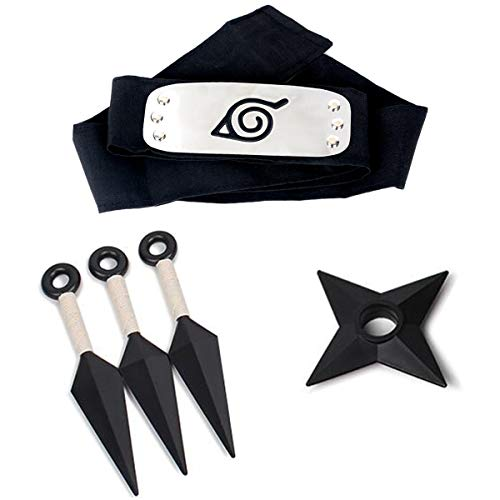 Naruto Leaf Village Headband, 3 Pcs Plastic Toy Kunai, Naruto Shuriken, Perfect for Ninja-Themed Costume Cosplay Black