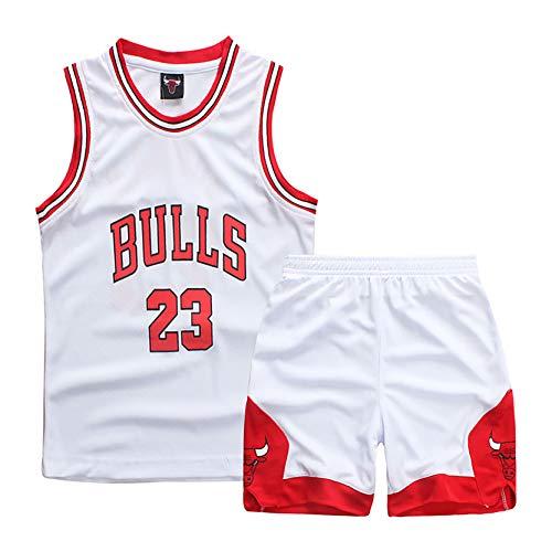 MRYUK Set de Camiseta de Baloncesto para niños, Chicago Bulls23# Michael Jordan Basketball Jersey Shorts, Textura Suave, niños (3xs-2xl) White-2XL