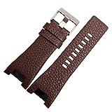 Pulsera de cuero genuino de 32 mm de reloj de reloj para WatchStrap WristWatches Band para DZ1216 DZ1273 DZ4246 DZ4247DZ287 Banda de reloj ( Band Color : BrownB silver buckle , Band Width : 32 17mm )