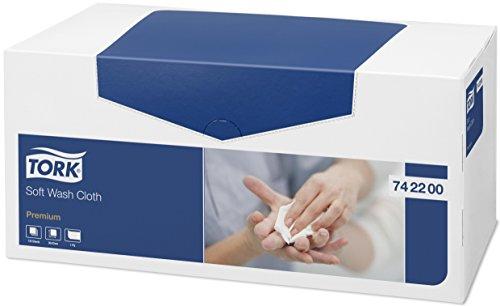 Tork 742200 Panno per lavaggio pazienti monouso Premium, 1 velo, goffrato, 1 conf. x 135 pezzi, 30 cm x 32 cm, resistente, bianco