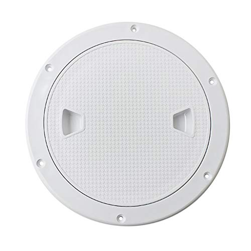 FHelectronic 6-Inch Marine Deck Plate Round Non-Slip Boat Cabin Vents Hatch Screw-in Deck Plate With Removable Cover ABS Plastic Deck Fittings (white)