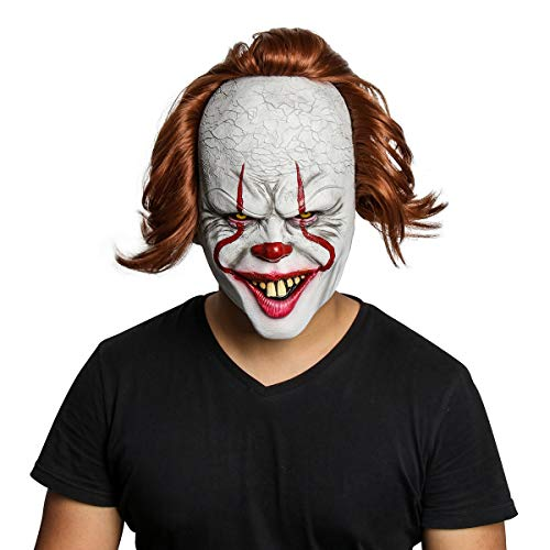NUWIND Pennywise Gruselige Clown Maske aus Latex Gruselige Halloween Kostüm Requisiten Gesichtsmaske Kopfmaske für Erwachsene