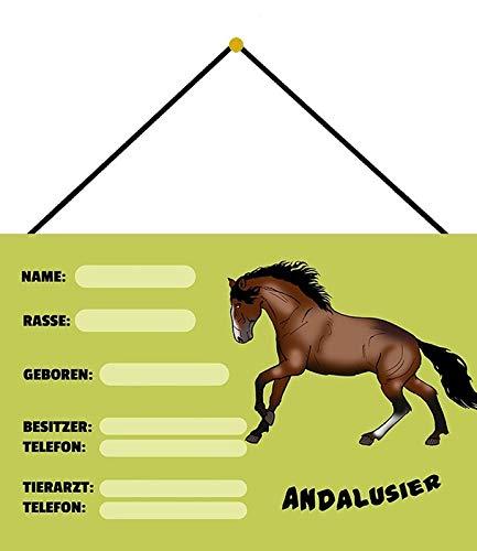 Metalen bord 20x30cm gebogen met koord boxenschild dozen Andalusier stal paard decoratie geschenk schild