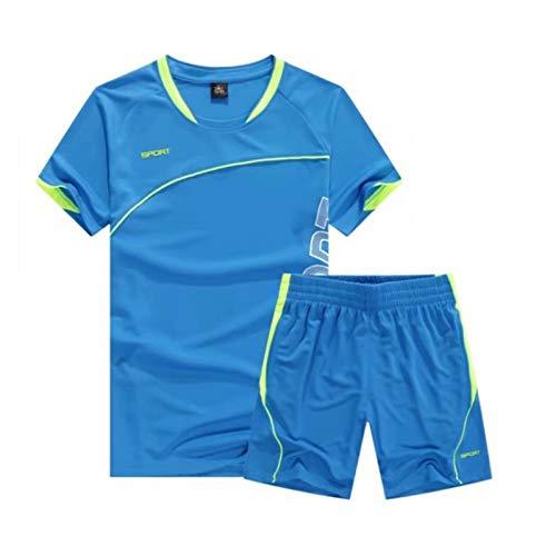 wetry Kinder Sportbekleidung Fußball Trikotset Kurzarm Training Tracksuits Lauf Sportanzug Blauer See/XL