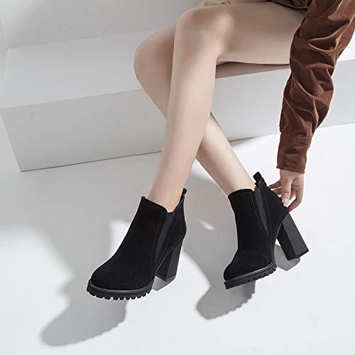 Shukun enkellaarsjes Herfst Dames Schoenen Herfst Dames Schoenen Mode Punt Dik Met 10Cm