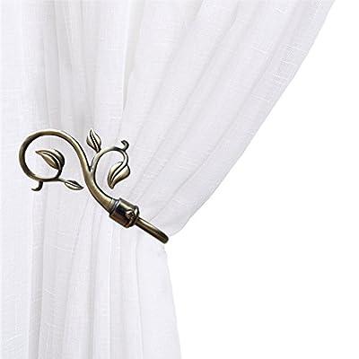 Chictie Bronze European Leaves Curtain Holdbacks Decorative Wall Hooks Hanger for Drapes Linen Holder Window Treatment Hardware,Set of 2