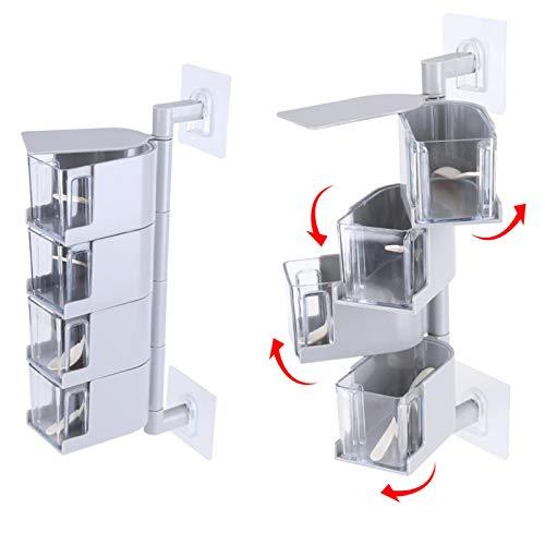 SUCIE Sticking Food Box, Seasoning Box, for Condiment Storage Jar Kitchen Storage Storage Supplies(grey)
