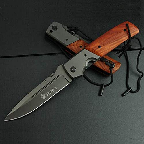 NedFoss Huge Pocket Knife for Men, Hunting Folding Knife with Wood Handle, 5'' Large Blade with Titanium Plated, Fishing Hiking Survival Knife, with Safety Liner Lock and Belt Clip (DA52)